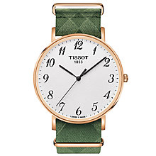 Buy Tissot T1096103803200 Men's Everytime Fabric Strap Watch, Green/White Online at johnlewis.com