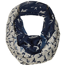 Buy Fat Face Bird Two Part Print Snood Scarf, Navy Online at johnlewis.com