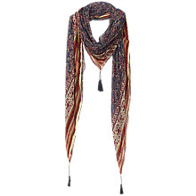 Buy Fat Face Floral Border Print Square Scarf, Navy/Orange Online at johnlewis.com