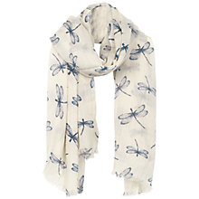 Buy Fat Face Dragonfly Print Scarf, Cream/Blue Online at johnlewis.com