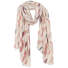 Buy Fat Face Feather Print Sequin Scarf, Orange/Multi Online at johnlewis.com