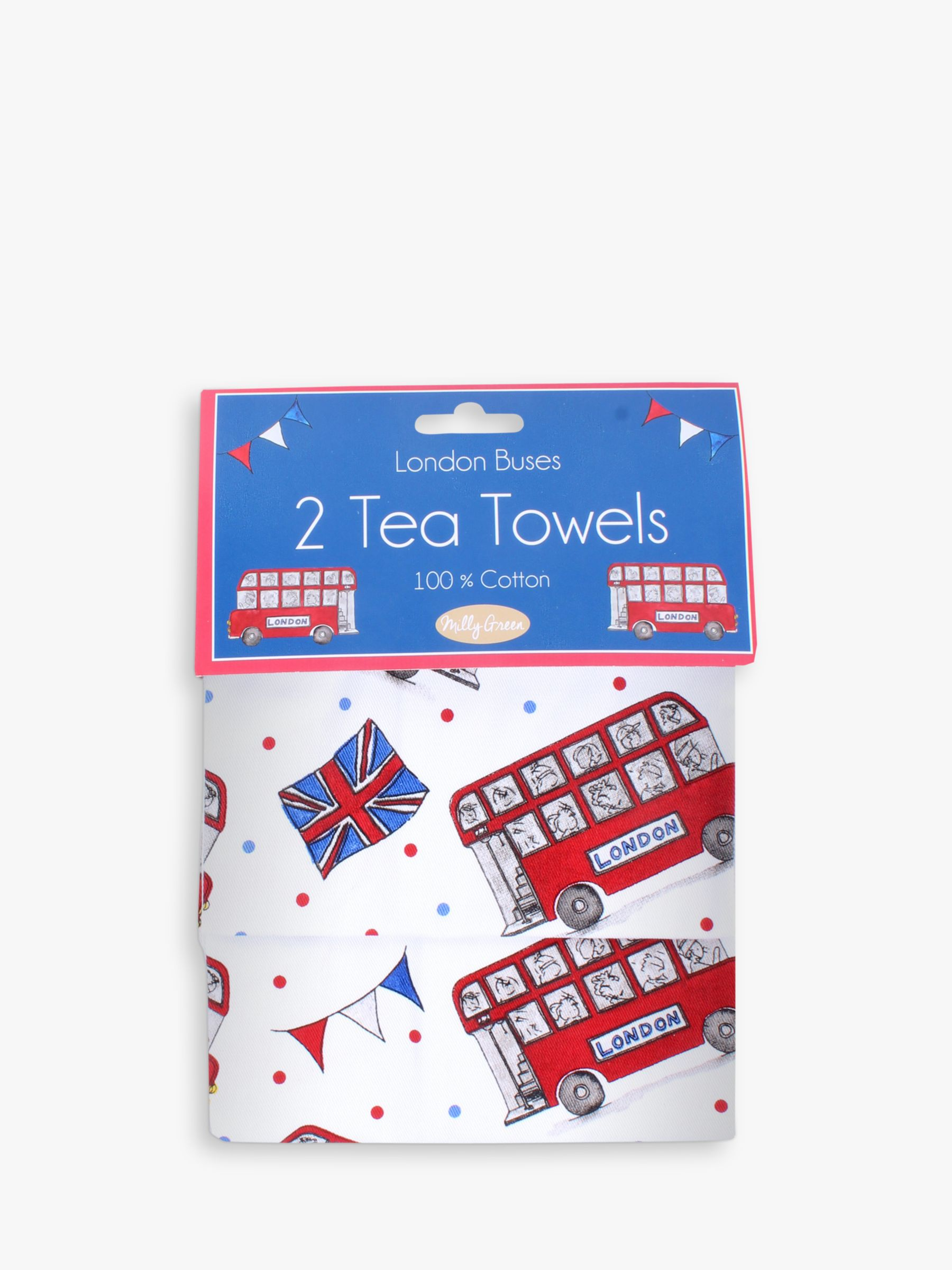 Milly Green Milly Green Celebration of Britain London Cotton Tea Towels, Set of 2
