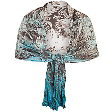 Buy Chesca Painted Ombre Crush Pleat Shawl, Ivory/Turquoise Online at johnlewis.com