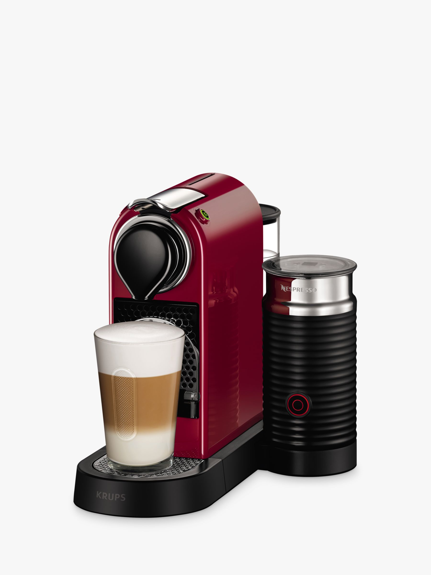 Krups Coffee Maker And Frother : Buy Nespresso CitiZ & Milk Coffee Machine by KRUPS with Milk Frother, Cherry Red John Lewis