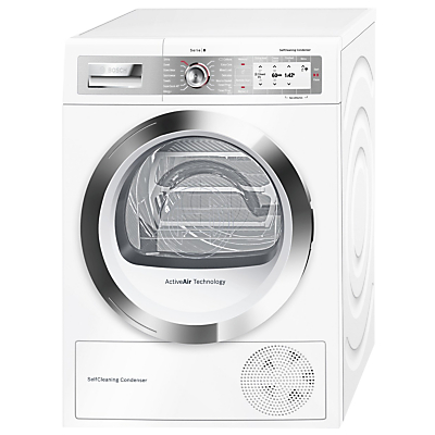 Bosch WTYH6790GB Freestanding Heat Pump Condenser Tumble Dryer, 9kg Load, A++ Energy Rating, White