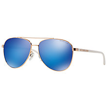 Buy Michael Kors MK5007 Hvar I Pilot Sunglasses, Rose Gold/Blue Mirror Online at johnlewis.com