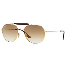 Buy Ray-Ban RB3540 Oval Sunglasses, Gold/Beige Gradient Online at johnlewis.com