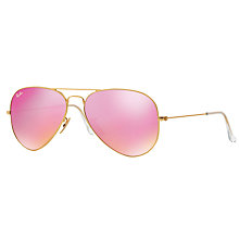 Buy Ray-Ban RB3025 Aviator Sunglasses, Gold/Pink Mirror Online at johnlewis.com