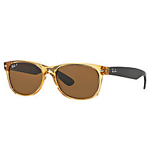 Buy Ray-Ban RB2132 New Wayfarer Polarised Sunglasses, Black/Honey Online at johnlewis.com