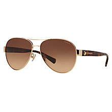 Buy Coach HC7063 Aviator Sunglasses, Tortoise/Gold Online at johnlewis.com
