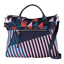 Buy Radley Triagonal Fabric Leather Detail Multiway Grab Bag, Navy/Multi Online at johnlewis.com