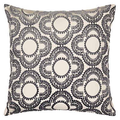 Genevieve Bennett for John Lewis Pom Pom Velvet Cushion, Steel