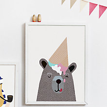 Buy Michelle Carlslund Illustration Bear Ice Cream Poster, 30 x 40cm Online at johnlewis.com