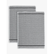Buy John Lewis Terry Tea Towels, Pack of 2, Black / White Online at johnlewis.com
