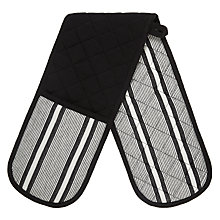 Buy John Lewis Stripe Double Oven Glove, Black / White Online at johnlewis.com