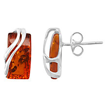Buy Goldmajor Sterling Silver Amber Wave Rectangular Stud Earrings, Silver/Orange Online at johnlewis.com