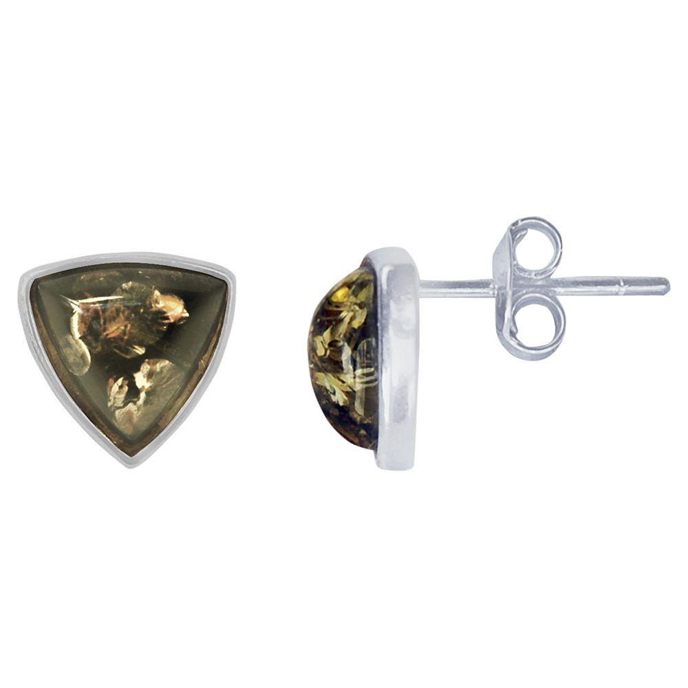 Goldmajor Goldmajor Amber Triangular Stud Earrings, Silver/Green