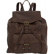 Buy Fat Face Jess Oiled Leather Rucksack, Chocolate Online at johnlewis.com