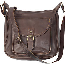 Buy Fat Face Amelia Oiled Leather Shaped Cross Body Bag, Chocolate Online at johnlewis.com