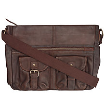 Buy Fat Face Amelia Large Oiled Leather Shaped Cross Body Bag, Chocolate Online at johnlewis.com