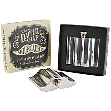 Buy Dapper Chap Moustache Hip Flask, Silver Online at johnlewis.com