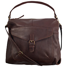 Buy Fat Face Sally Soft Leather Slouch Shoulder Bag, Chocolate Online at johnlewis.com