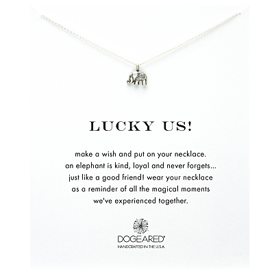 Dogeared Lucky Elephant Pendant Necklace, Silver