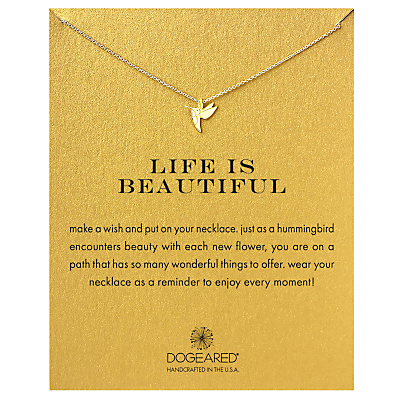 Dogeared Life Is Beautiful Hummingbird Pendant Necklace, Gold