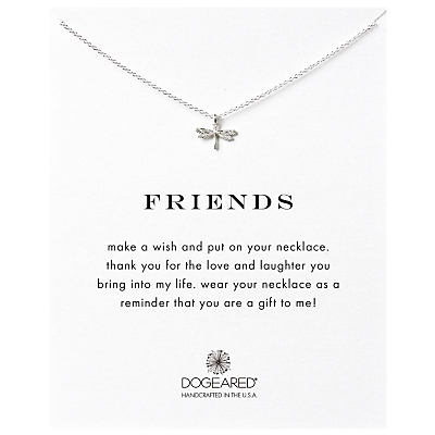 Dogeared Friendship Dragonfly Pendant Necklace, Silver