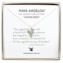 Buy Dogeared Maya Angelou Caged Bird Sings Pendant Necklace, Silver Online at johnlewis.com