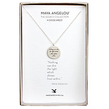 Buy Dogeared Maya Angelou Sterling Silver The Light Pendant Necklace, Silver Online at johnlewis.com