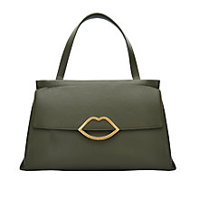 Buy Lulu Guinness Gertie Leather Large Shoulder Bag, Dark Sage Online at johnlewis.com