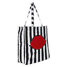 Buy Lulu Guinness Red Lips Stripe Foldaway Shopper Bag, Multi Online at johnlewis.com