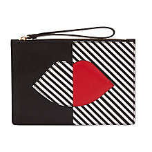 Buy Lulu Guinness Grace Leather Pouch Clutch Bag, Black / White Online at johnlewis.com