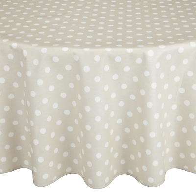 John Lewis Polka Dot Wipe Clean Round Tablecloth, Dia.180cm