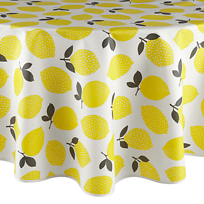 John Lewis Lemons Wipe Clean Round Tablecloth, Dia.180cm