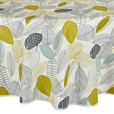 John Lewis Leaves Wipe Clean Round Tablecloth, Dia.180cm