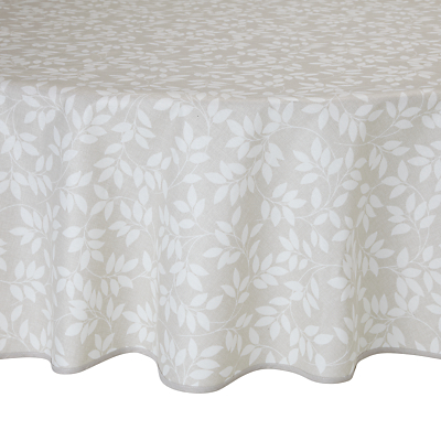 John Lewis Trailing Leaves Wipe Clean Round Tablecloth, Dia.180cm