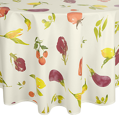 John Lewis Villa Toscana Veg Garden Wipe Clean Tablecloth, Dia.180cm