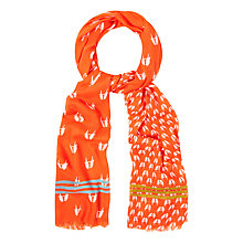Buy White Stuff Cockatiel Print Scarf, Orange Online at johnlewis.com