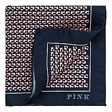 Buy Thomas Pink Jumping Fox Print Silk Pocket Square, Navy/Pink Online at johnlewis.com