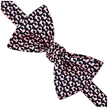 Buy Thomas Pink Jumping Fox Print Self Tie Silk Bow Tie, Navy/Pink Online at johnlewis.com