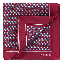 Buy Thomas Pink Guitar Print Silk Pocket Square, Burgundy/Blue Online at johnlewis.com
