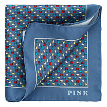 Buy Thomas Pink Multi Elephant Print Silk Pocket Square, Blue/Multi Online at johnlewis.com
