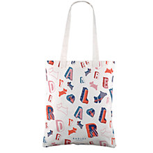 Buy Radley Spell Check Cotton Canvas Medium Tote, Natural Online at johnlewis.com