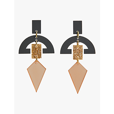 Toolally Half Moon Drop Earrings, Nude/Glitter