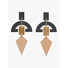 Buy Toolally Half Moon Drop Earrings, Nude/Glitter Online at johnlewis.com