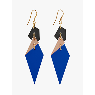 Toolally Abstract Diamond Shaped Drop Earrings, Sapphire/Multi