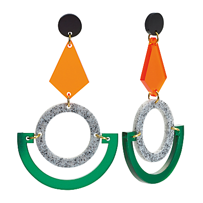 Toolally Boatman Drop Stud Earrings, Green/Orange