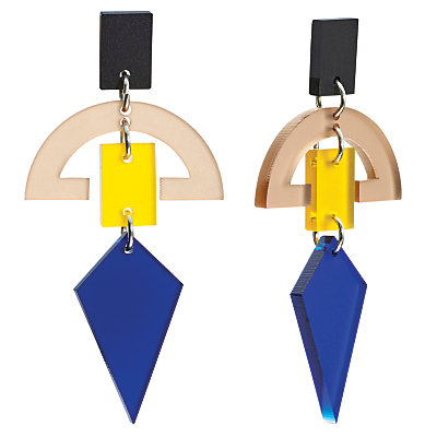 Toolally Half Moon Drop Earrings, Navy/Yellow